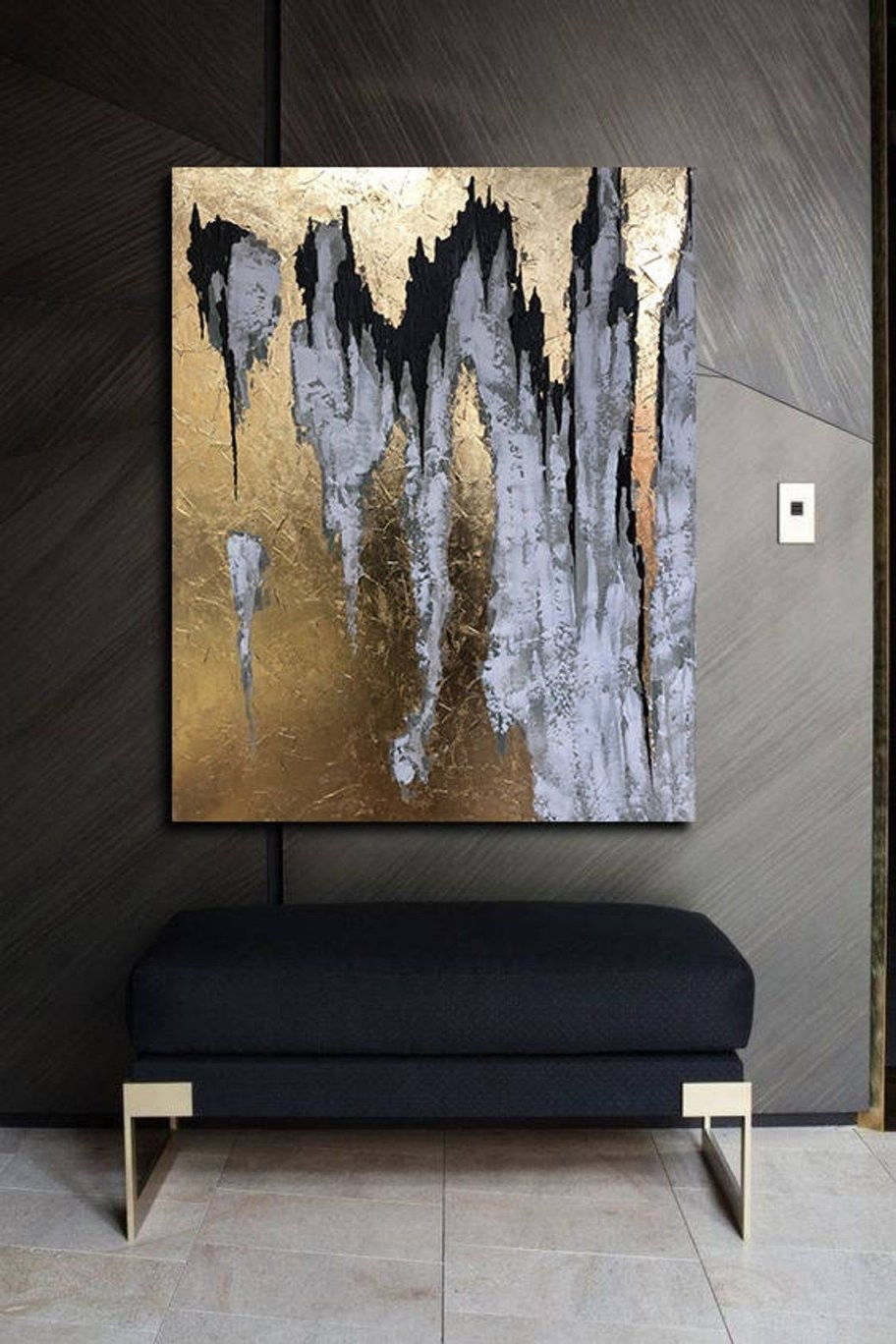Schwarz Weiß Malerei Abstrakte Große Schwarze Gold Malerei  Etsy von Abstrakte Bilder Selbst Gestalten Bild