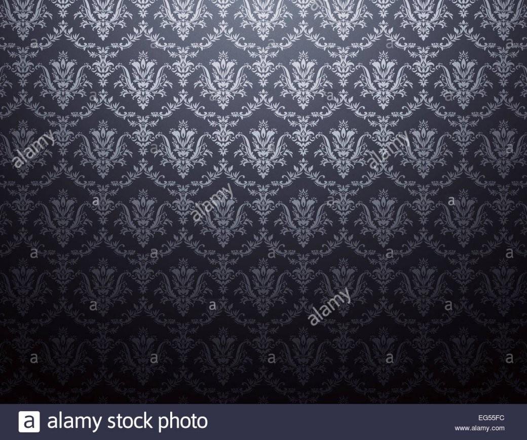 Schwarze Tapete Mit Floralen Muster In Silber Stockfoto Bild von Schwarze Tapete Mit Muster Bild