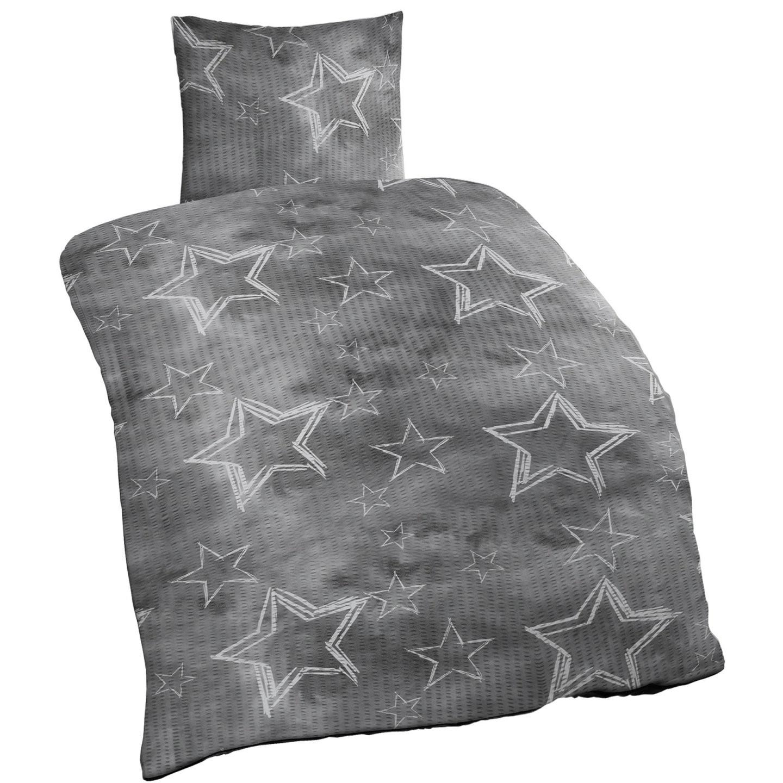 Seersucker Baumwolle Bettwäsche 135X200 Cm 2 Teilig Sterne Anthrazit von Seersucker Bettwäsche 135X200 Günstig Bild