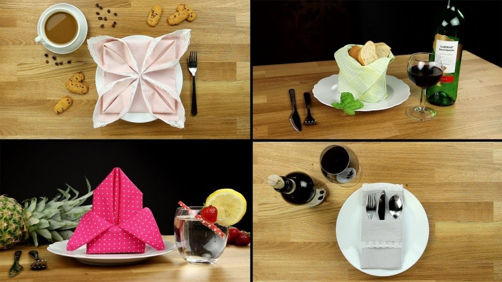 Servietten Falten  Anleitung Einfache Schnelle Tisch Deko Für von Servietten Falten Hochzeit Anleitung Photo