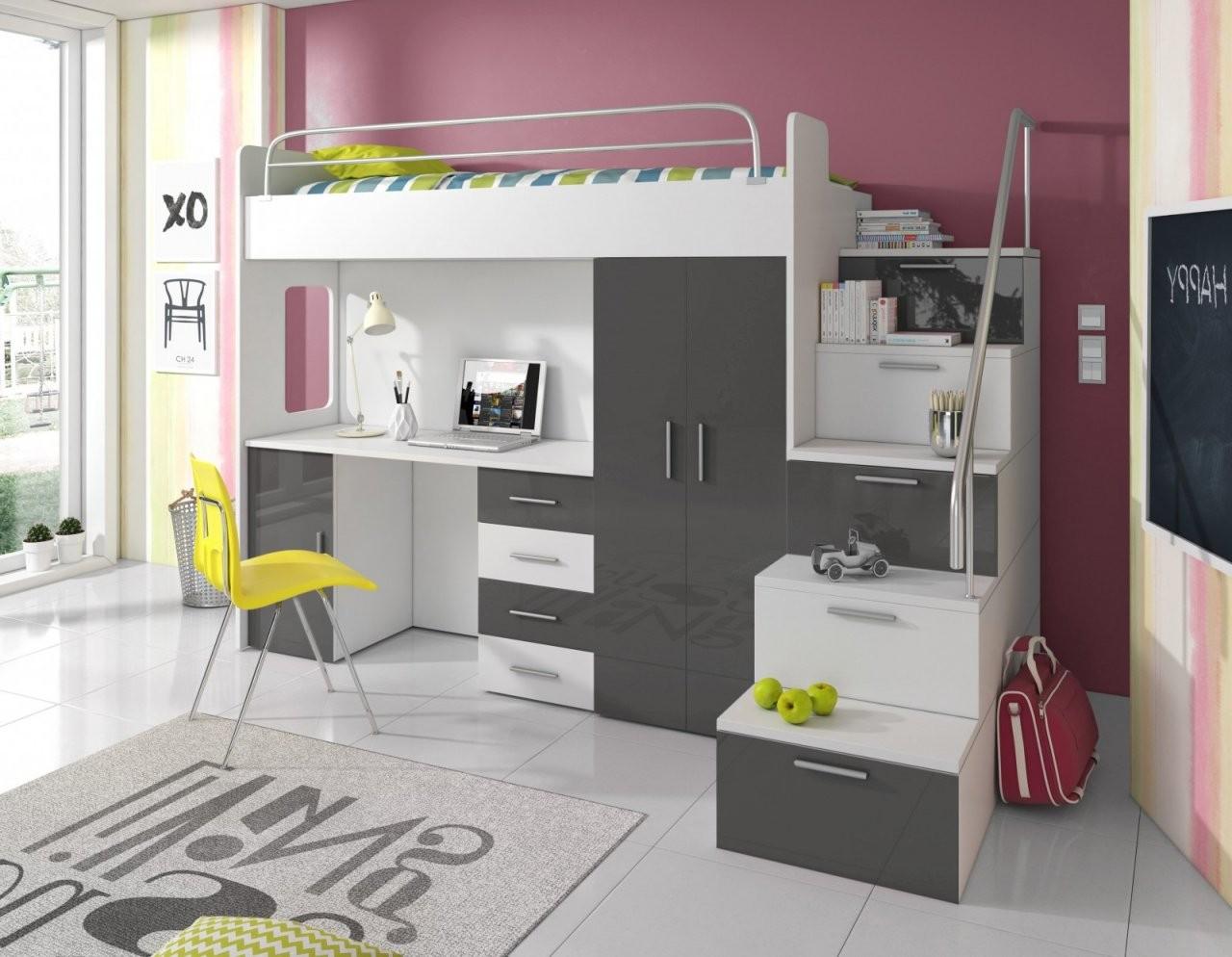 Set Sky  Kinder Hochbett Mit Treppe Schreibtisch Und Schrank von Kinderbett Mit Schreibtisch Und Kleiderschrank Photo