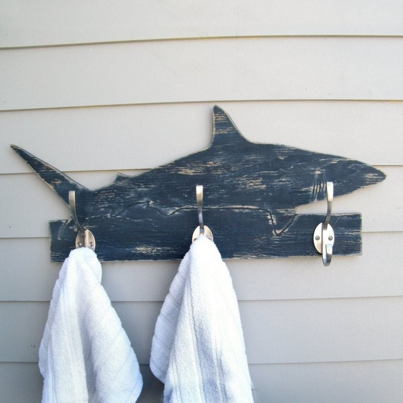 Shark Towel Hook Bathroom Towel Hook Beach Towel Hook Shark  Etsy von Beach Themed Towel Hooks Photo