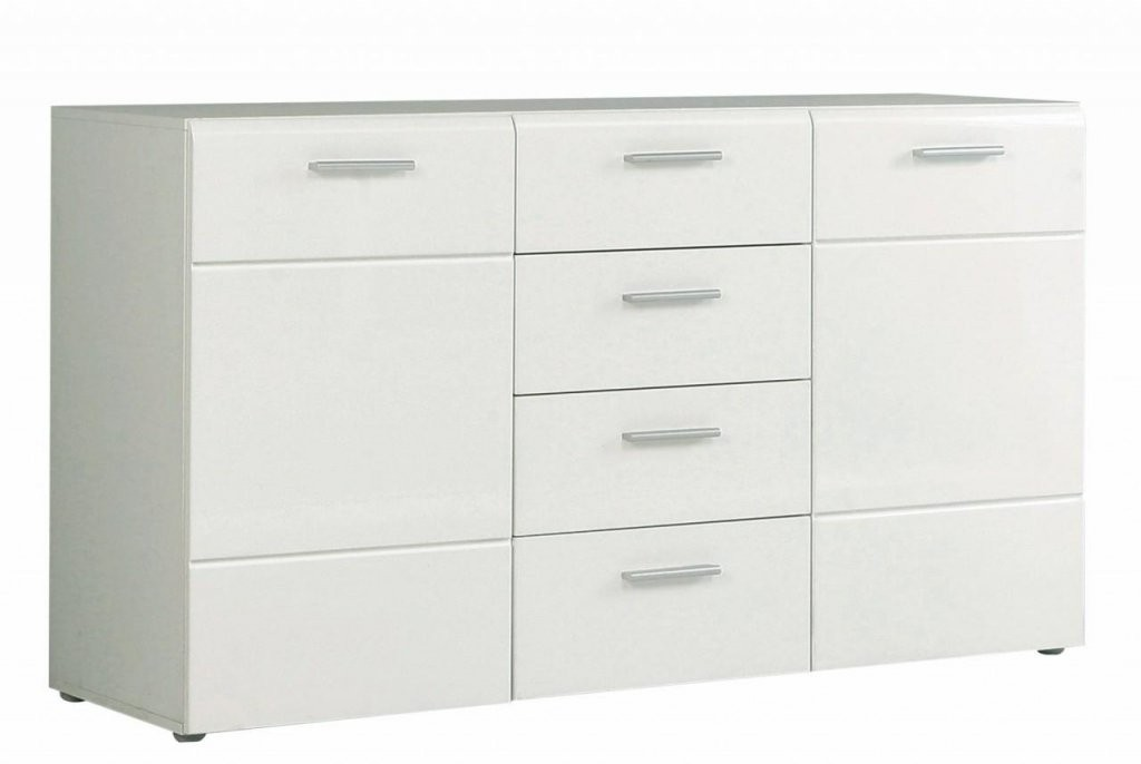 Sideboard Slate 2 Türen 4 Schubladen Front Weiß Hochglanz Von Forte von Kommode Weiß Hochglanz Schubladen Bild