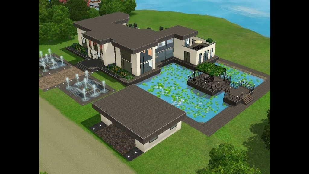 Sims 3  Haus Bauen  Let's Build  Großes Modernes Haus Mit Pool von Sims Häuser Zum Nachbauen Bild
