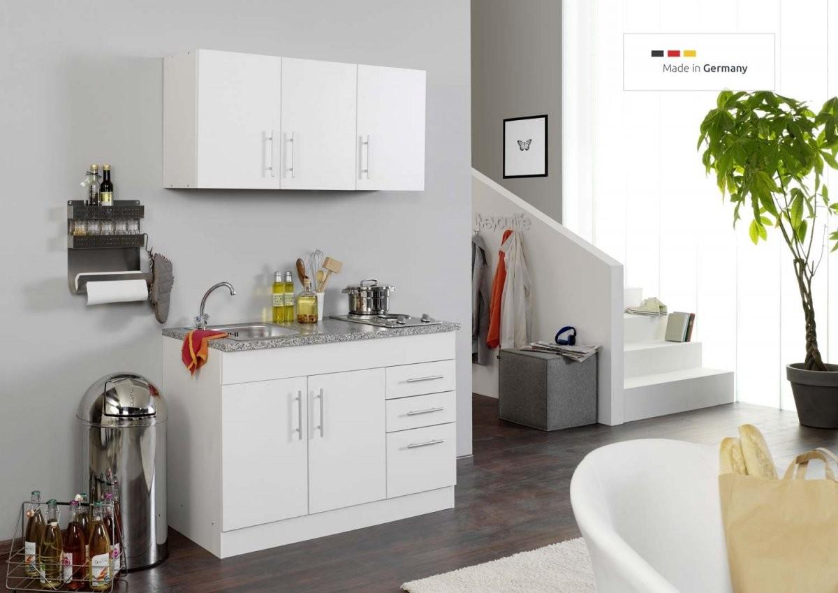 Singleküche In Weiß Ohne Kühlschrank Mit Kochfeld Und Spüle 120 Cm von Küche Mit E Geräten Ohne Kühlschrank Photo