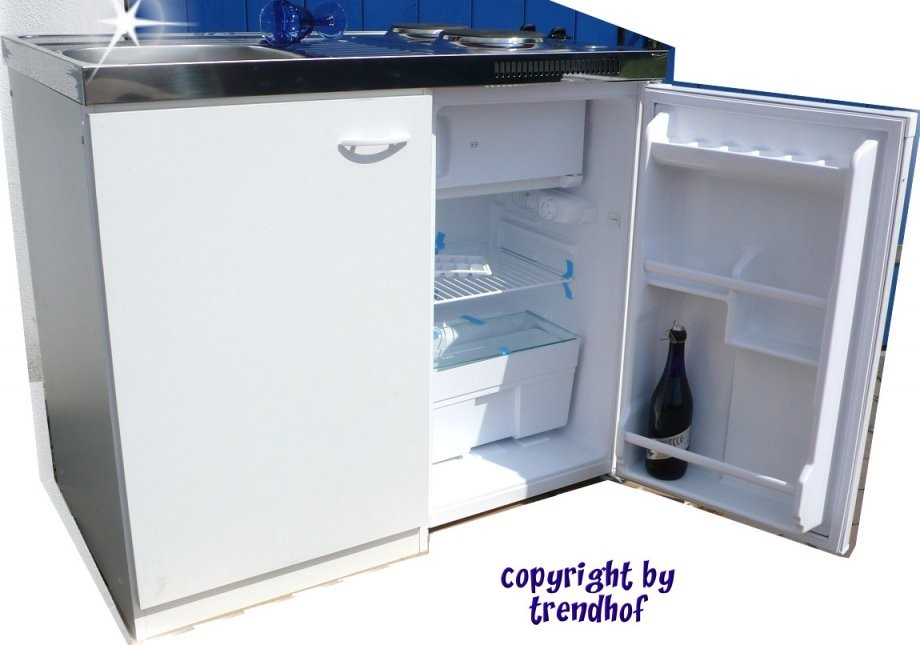 Singleküche Weiß Inkl Kühlschrank von Pantryküche 100 Cm Mit Kühlschrank Bild