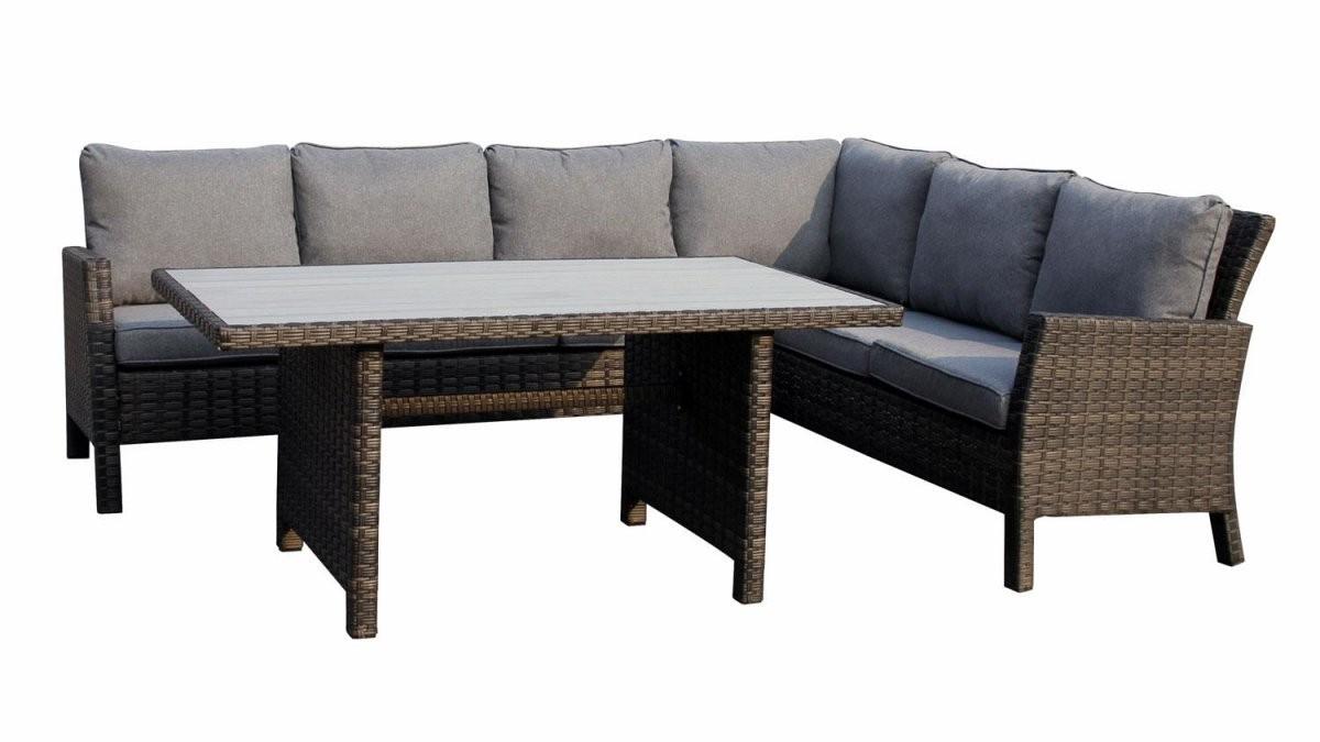 Sitzecke Madison Set Mit Tisch Polyrattan Grau Braun von Polyrattan Eckbank Mit Esstisch Photo