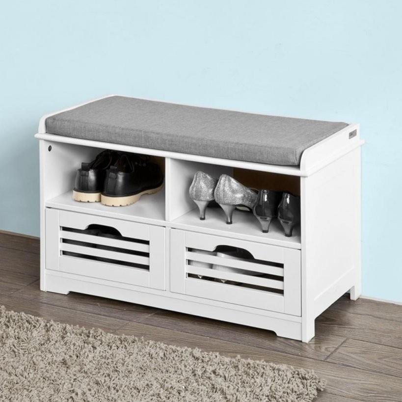 Sobuy® Schuhtruhe Sitzbank Mit 2 Körben Und Ab  Real von Sitzbank Weiß Mit Stauraum Photo