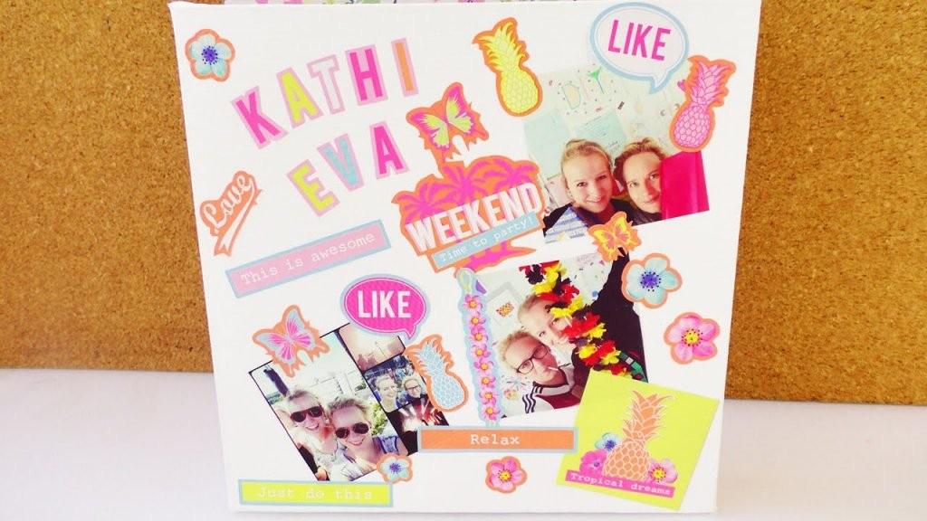 Sommer Collage Auf Der Leinwand  Super Einfache Deko Idee von Leinwand Collage Selber Gestalten Bild