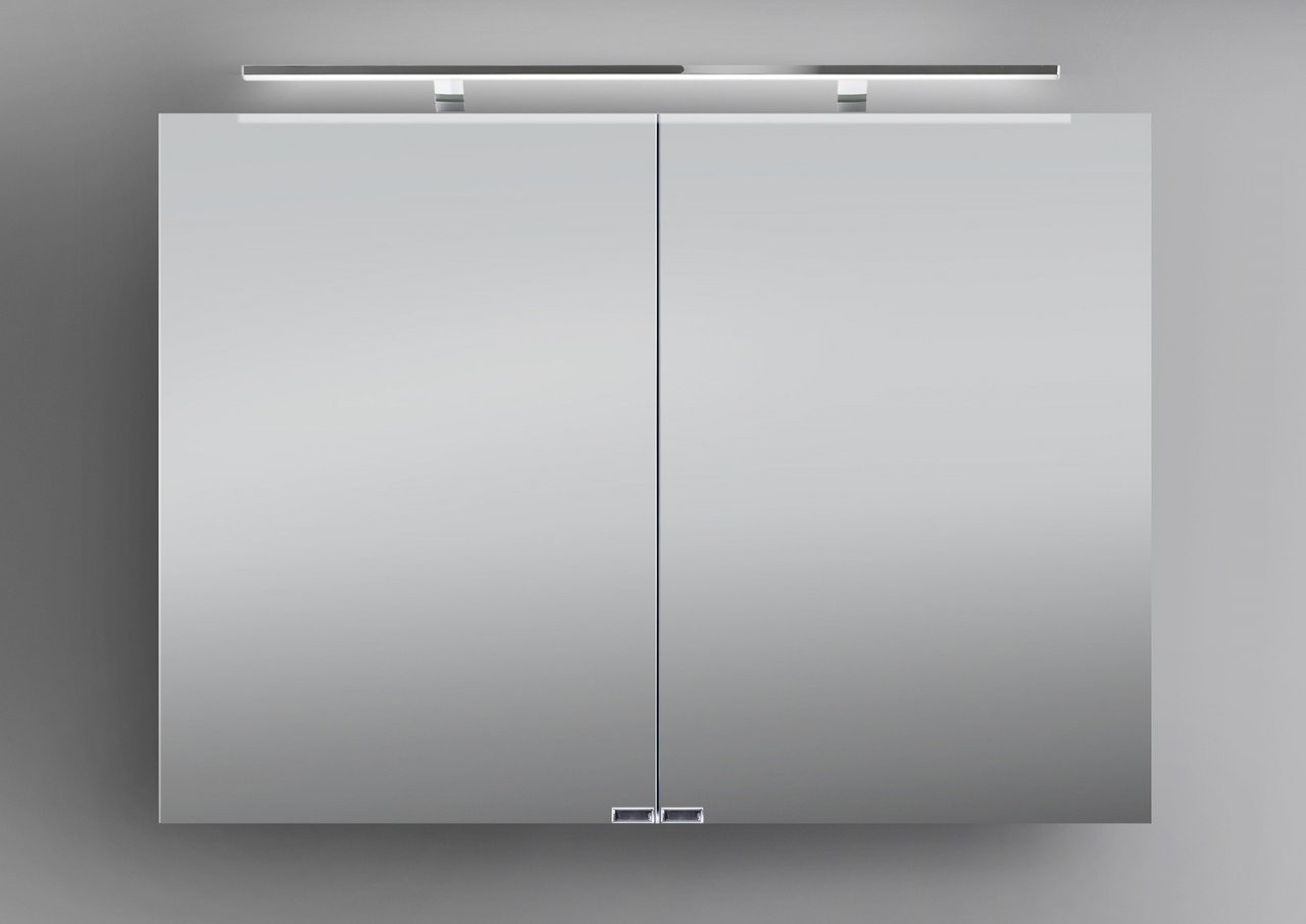 Spiegelschrank 100 Cm Inkl Led Beleuchtung Doppelseitig Verspiegelt von Bad Spiegelschrank 100 Cm Breit Bild