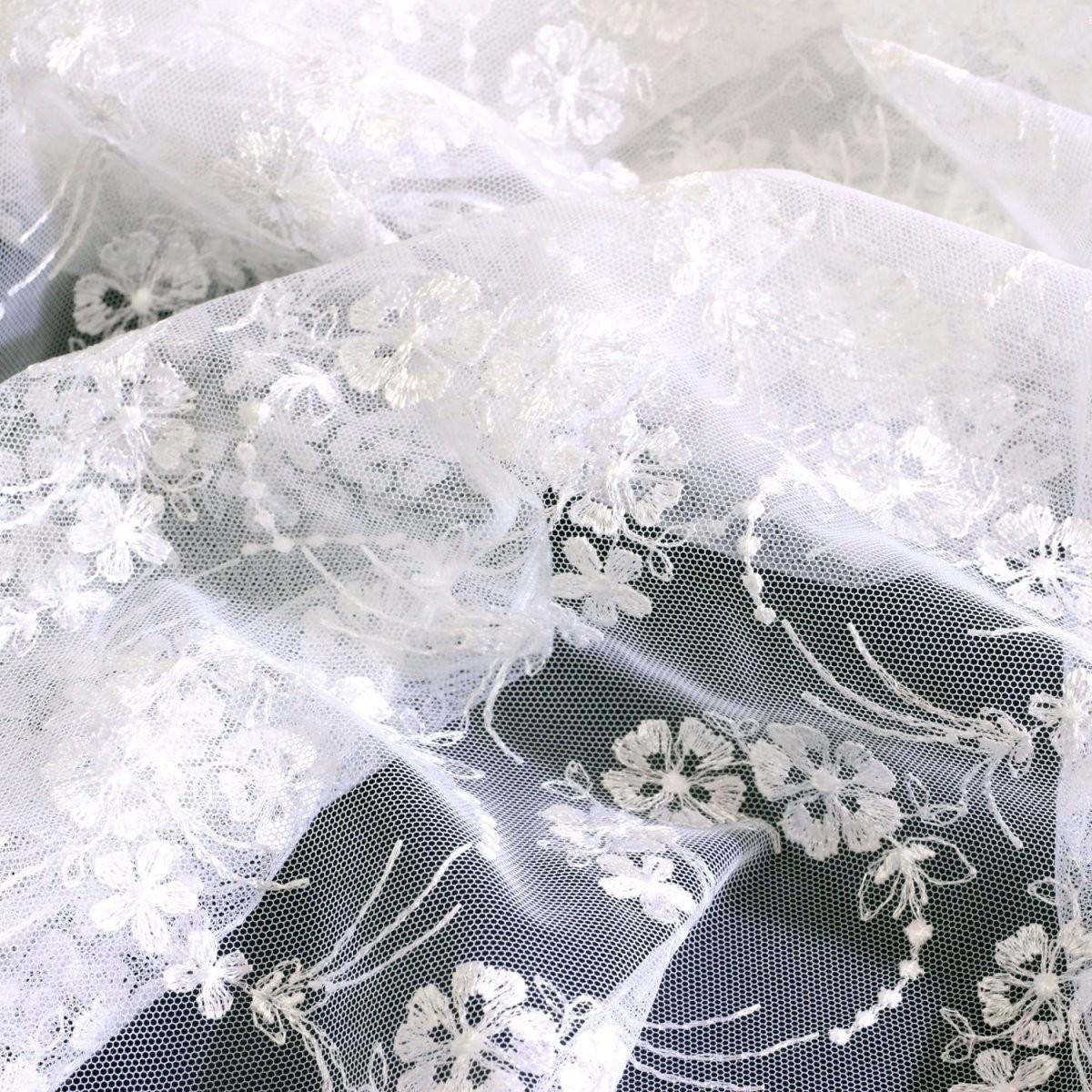 Spitze  Tüllallover T02 In Weiß 70 Cm Breit  Jetzt Kaufen von Gardinen 70 Cm Breit Bild