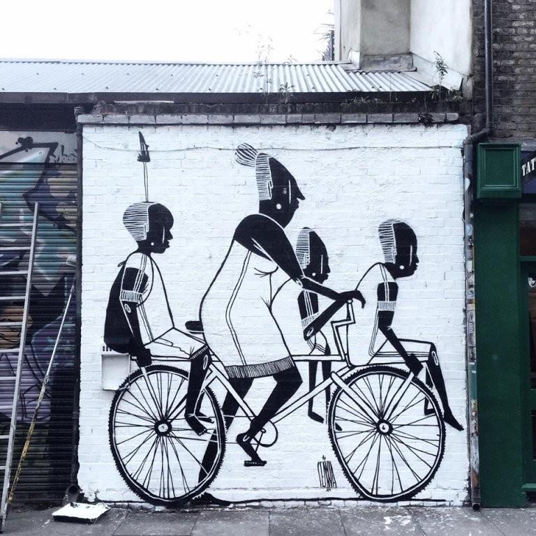 Spotlight Alex Senna Streetart In Schwarzweiß – Gadget Technik von Gemalte Bilder Schwarz Weiß Photo