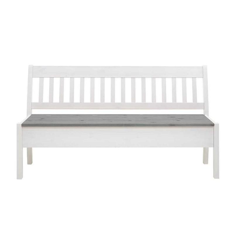 Stauraum Sitzbank In Weiß Und Grau Kiefer Massivholz Online Kaufen von Sitzbank Weiß Mit Stauraum Bild