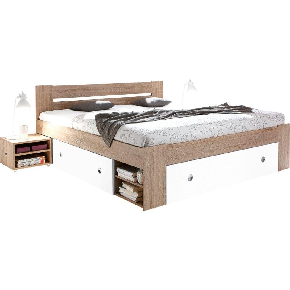 Stauraumbett Stefan Eiche Sonoma Nachbildungweiß Ca 140 X 200 Cm von Möbel Boss Betten 140X200 Bild