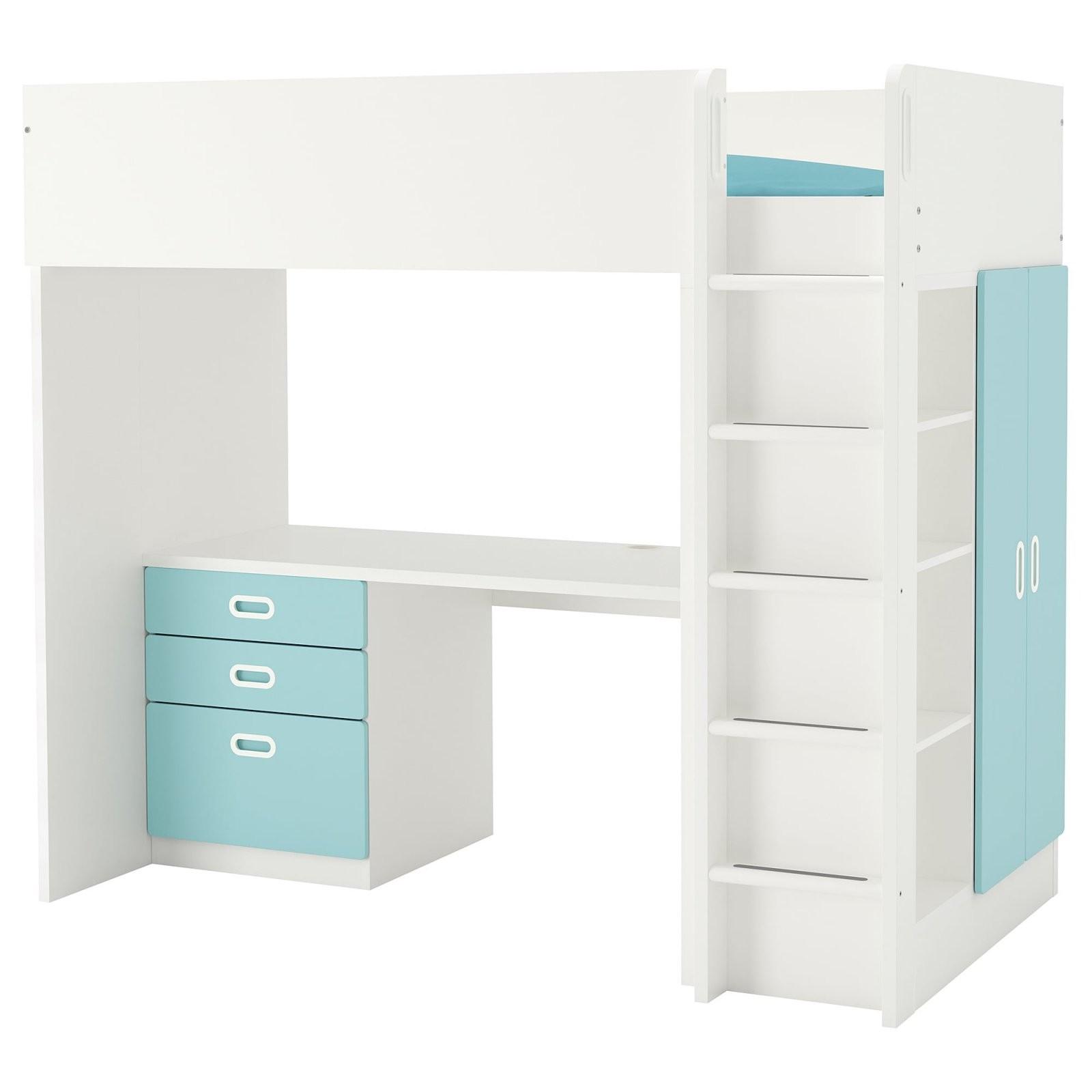Stuva  Fritids Hochbettkomb 3 Schubl2 Türen  Weiß Hellblau  Ikea von Ikea Hochbett Mit Schreibtisch Und Schrank Bild