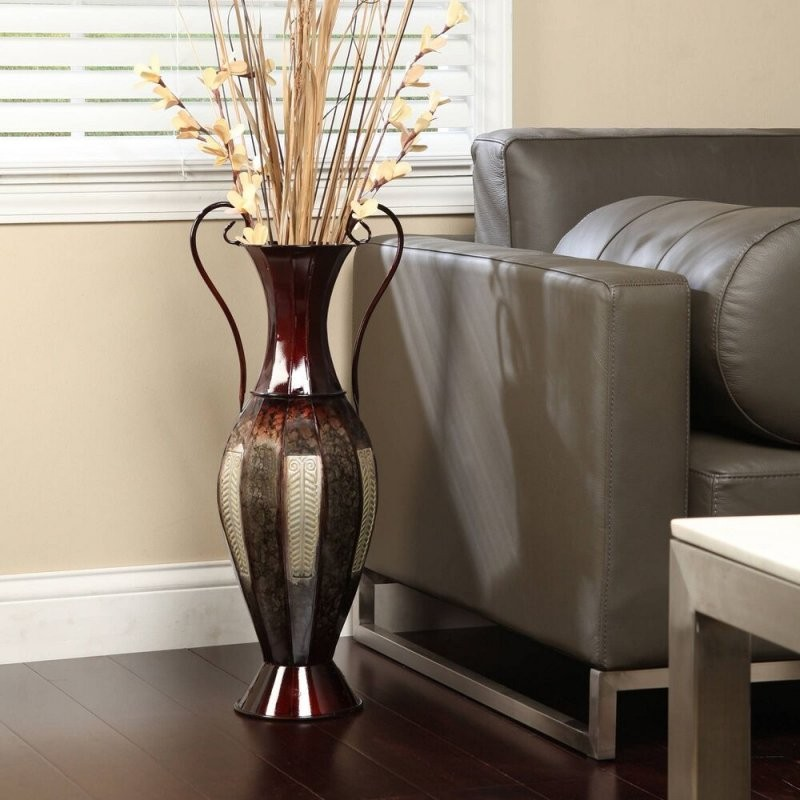 Tall 2 Tone Metal Floor Vase Decorative Display 26Quot; Silver von Very Tall Floor Vases Bild