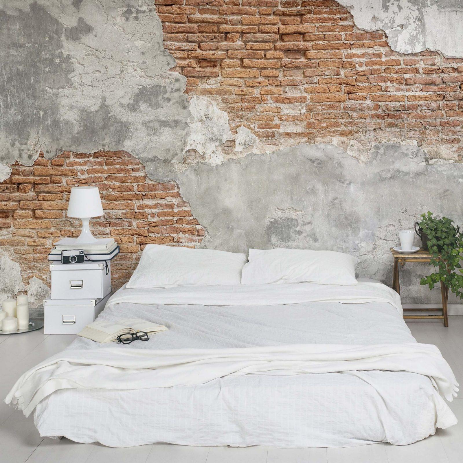 Tapete Betonoptik  Shabby Backstein Wand  Vlies Fototapete Breit von Schöne Wände Ohne Tapete Photo
