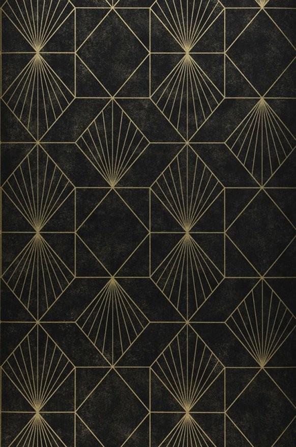 Tapete Maurus (Gold Schwarz)  Tapeten Der 70Er von Schwarze Tapete Mit Muster Bild
