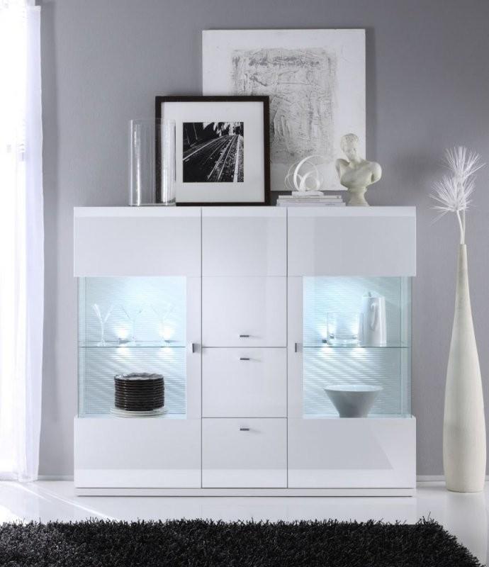 Taya Hochglanz Highboard Weiss Esszimmer  Modern  Stauraum von Moderne Deko Für Vitrine Photo