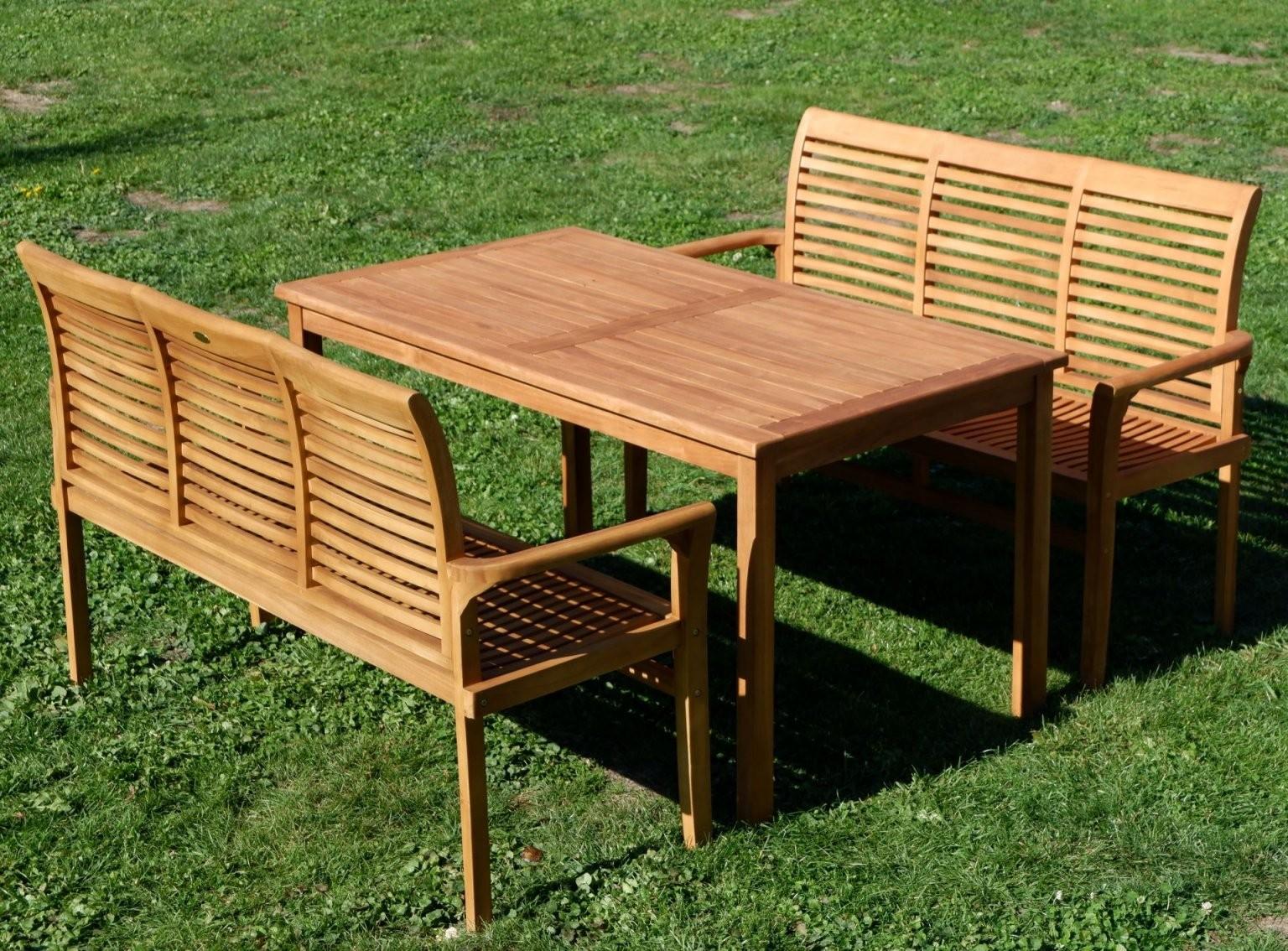 Teak Xl Set Gartentisch + 2 Bänke Javalpen Alles Für Garten Und von Gartentisch Mit 2 Bänken Photo
