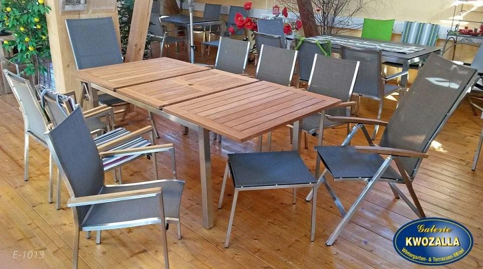 Teakholz Gartentische Ausziehbar Klappbar  Galerie Kwozalla von Gartentisch Teak Edelstahl Ausziehbar Photo