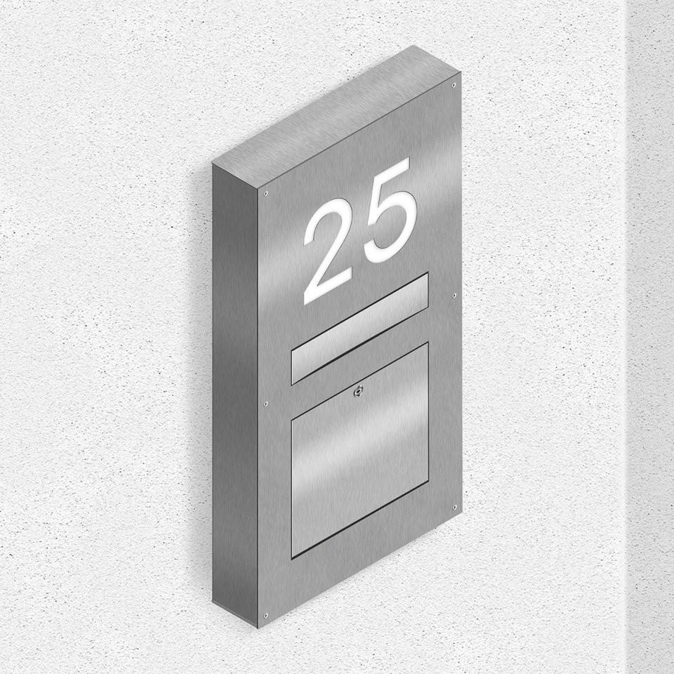 Thorwa® Edelstahl Wandbriefkasten + Beleuchteter Hausnummer Aufputz von Edelstahl Briefkasten Mit Hausnummer Photo