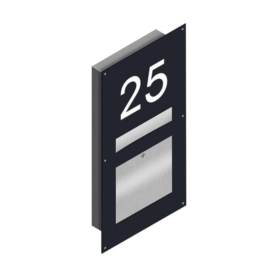 Thorwa® Edelstahl Wandbriefkasten+Beleuchteter Hausnummer Unterputz von Edelstahl Briefkasten Mit Hausnummer Photo