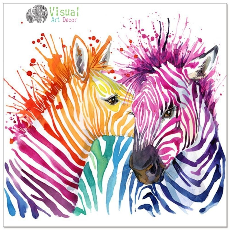 Tier Leinwand Wandkunst Moderne Wohnzimmer Wandtattoos Bunte Zebra von Zebra Bilder Auf Leinwand Bild