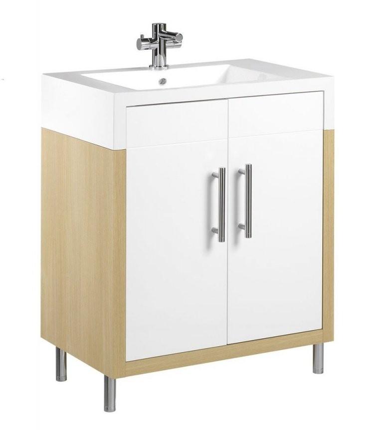 Tiger Serie Boston Waschtischunterschrank Weißeiche Mit Türen B von Waschtisch Mit Unterschrank 70 Cm Breit Bild