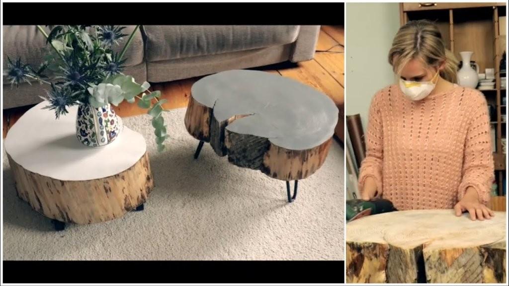Tisch Aus Baumscheibe Selber Machen  Youtube von Tisch Baumscheibe Selber Bauen Photo