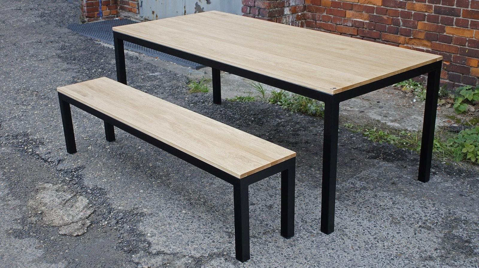 """Tisch + Bank Holztisch """"Getinge"""" – Meinholzprojekt von Tisch Mit Metallgestell Und Holzplatte Photo"""