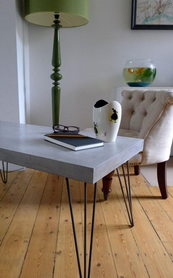 Tisch In Betonoptik Selber Machen  Ideen Mit Effektspachtel  Diy von Möbel In Betonoptik Streichen Bild
