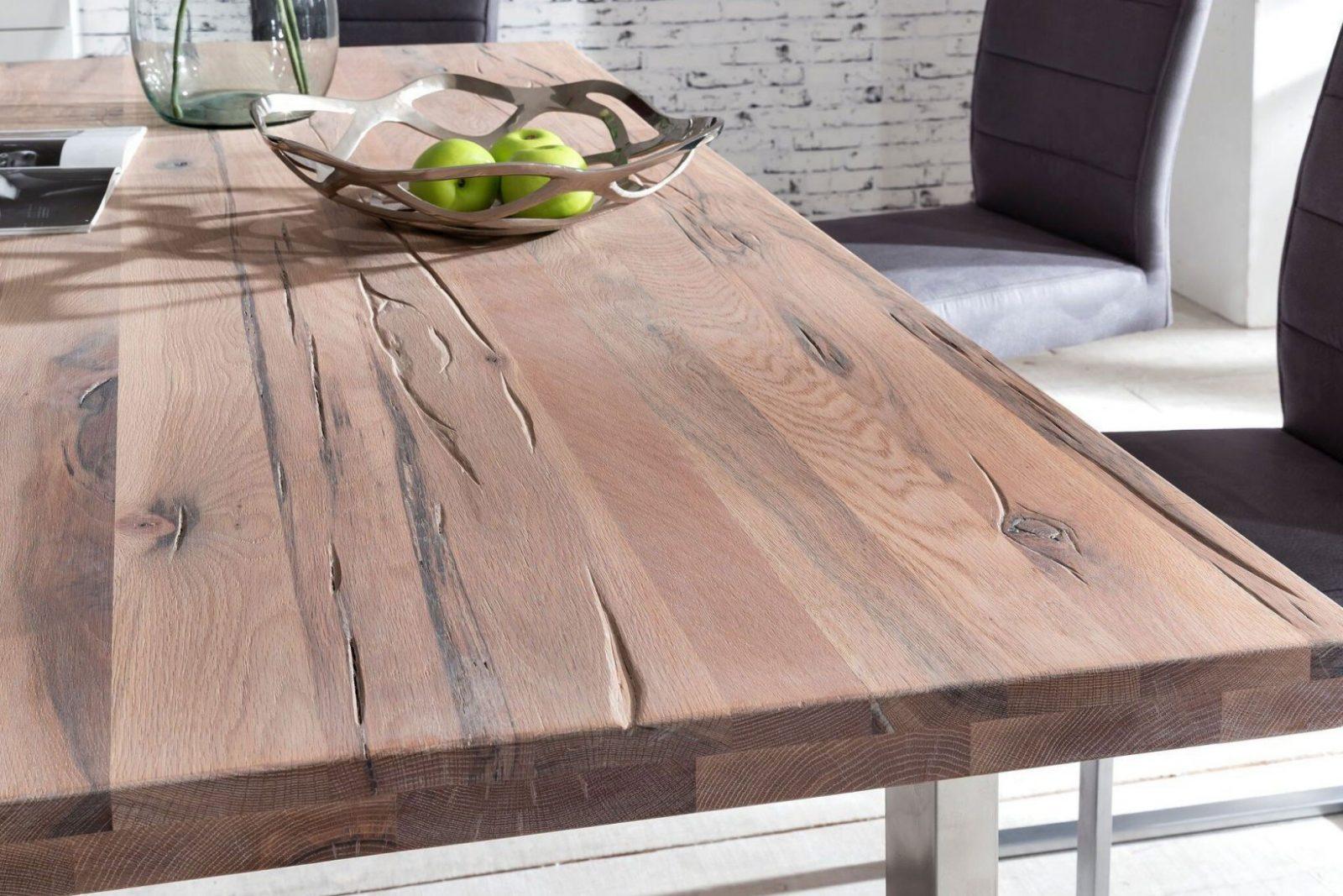 Tisch New York Eiche Weiß Gekälkt Von Massivdirekt  Möbel Letz von Esstisch Eiche Weiß Gekalkt Bild