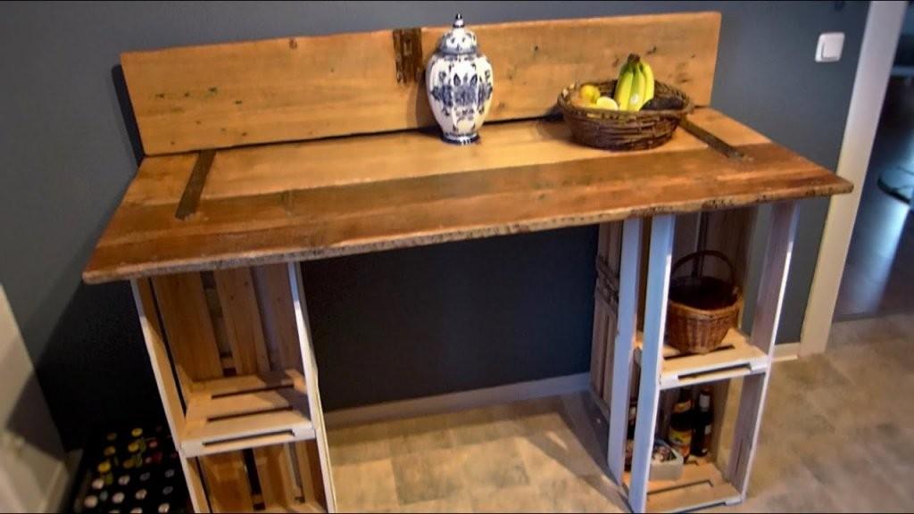 Tisch Selber Bauen (Aus Einer Tür Und Weinkisten)  Youtube von Möbel Türen Selber Bauen Photo