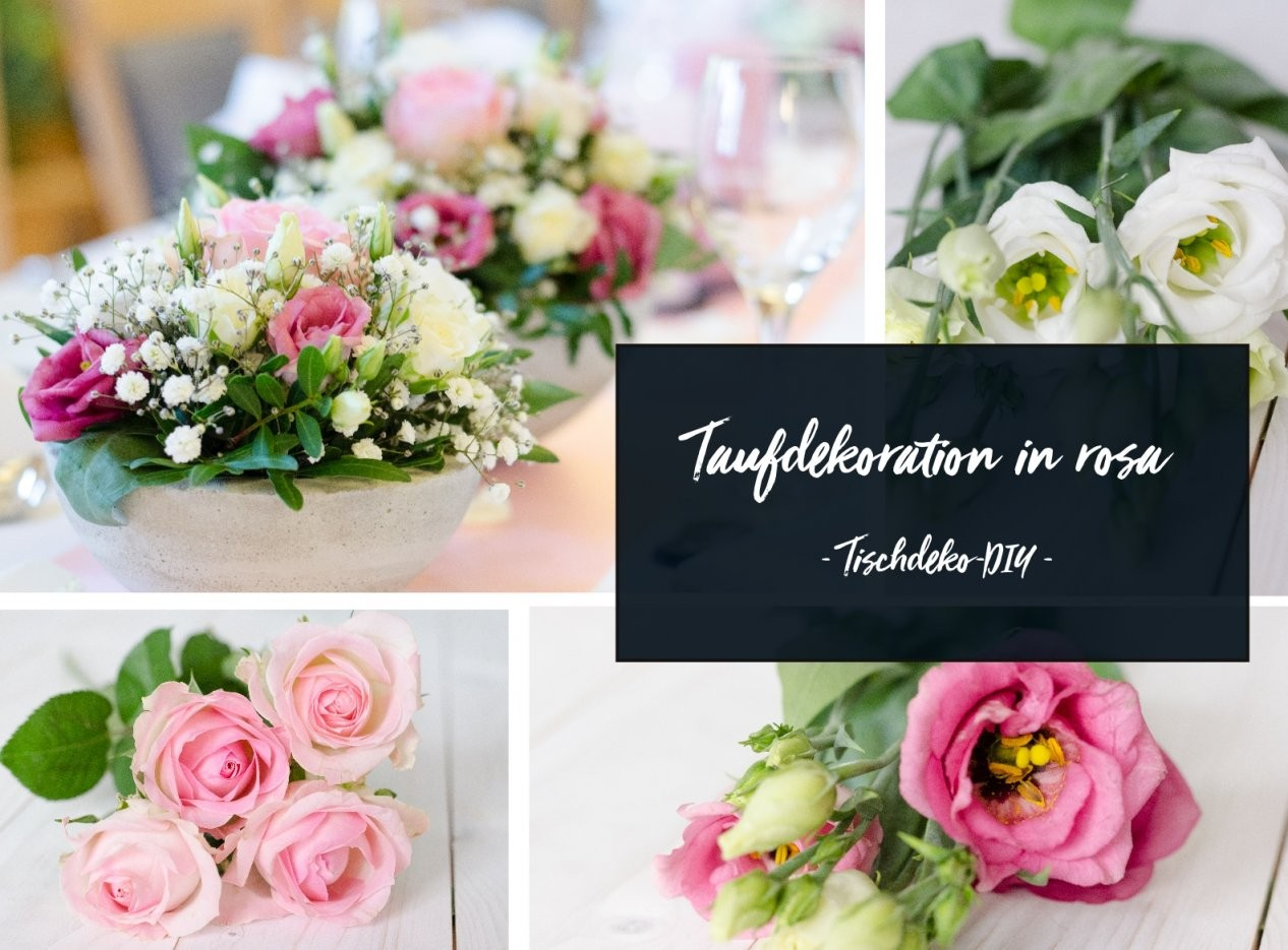 Tischdeko Zur Taufe Selber Machen – Gesteck In Rosa Und Weiß  Blumigo von Taufe Deko Selber Machen Photo