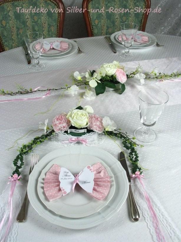 Tischgesteck Rosa Taufe Mädchen  Taufdeko  Deko Taufe Tischdeko von Taufe Deko Selber Machen Photo