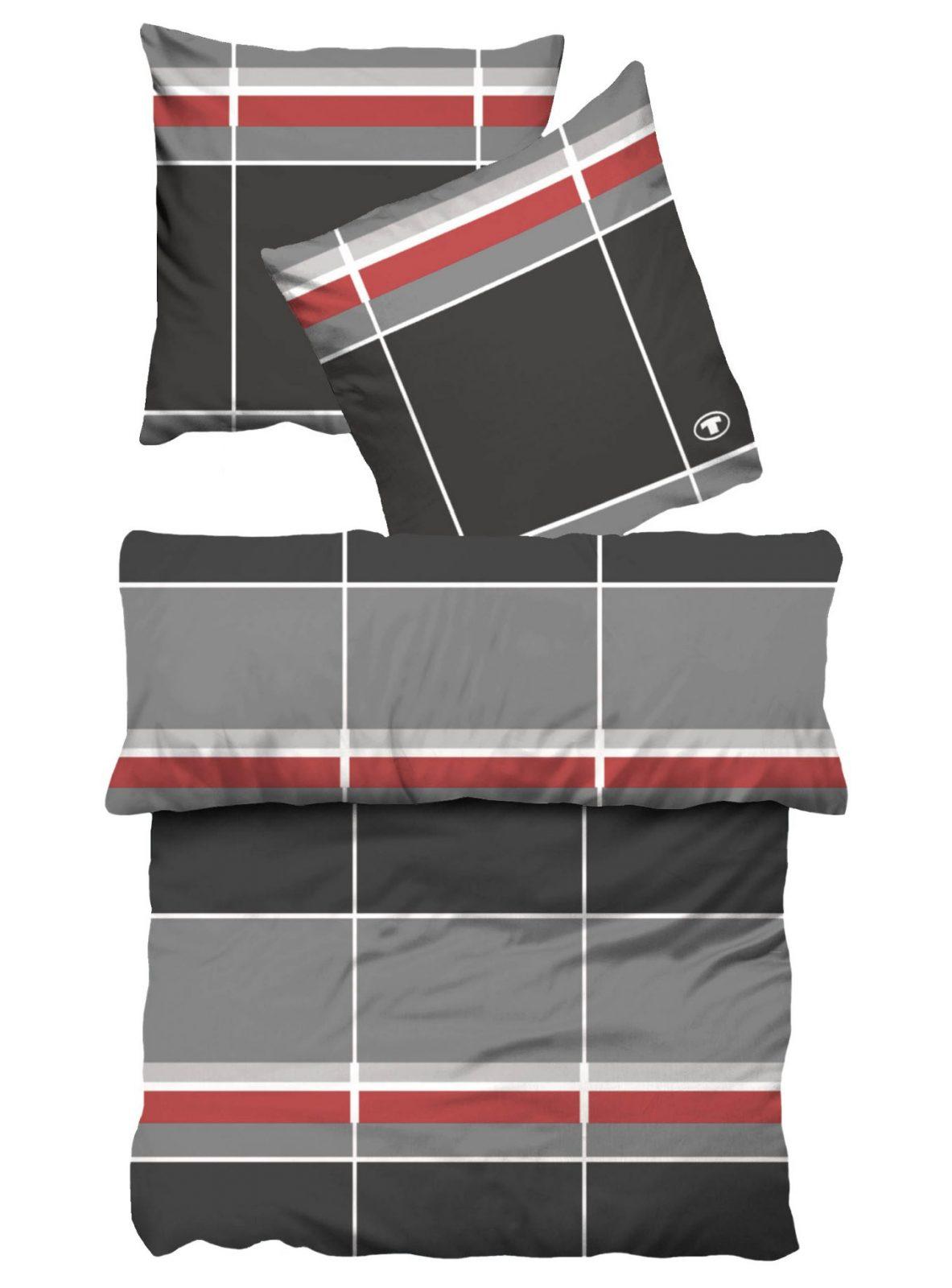 Tom Tailor Fein Biber Bettwäsche 155X220 80X80 Cm In Grau Rot von Bettwäsche 155X220 Tom Tailor Photo