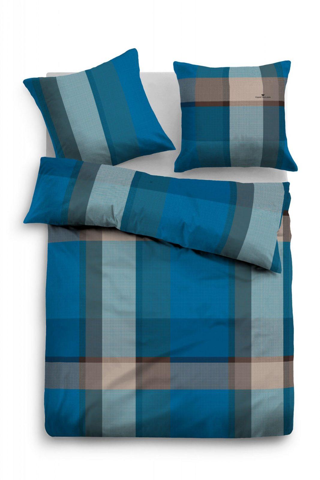 """Tom Tailor Flanell Bettwäsche """"blue Plaid"""" Blaugrau  Beauty von Bettwäsche 155X220 Tom Tailor Bild"""