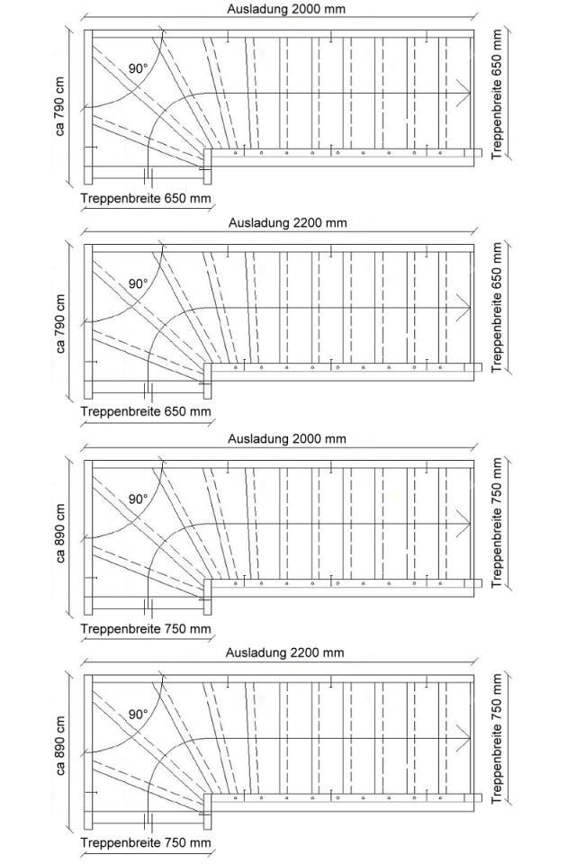 Treppe Nach Maß 14 Gewendelt Rechts Unten von Raumspartreppe 1 4 Gewendelt Bild