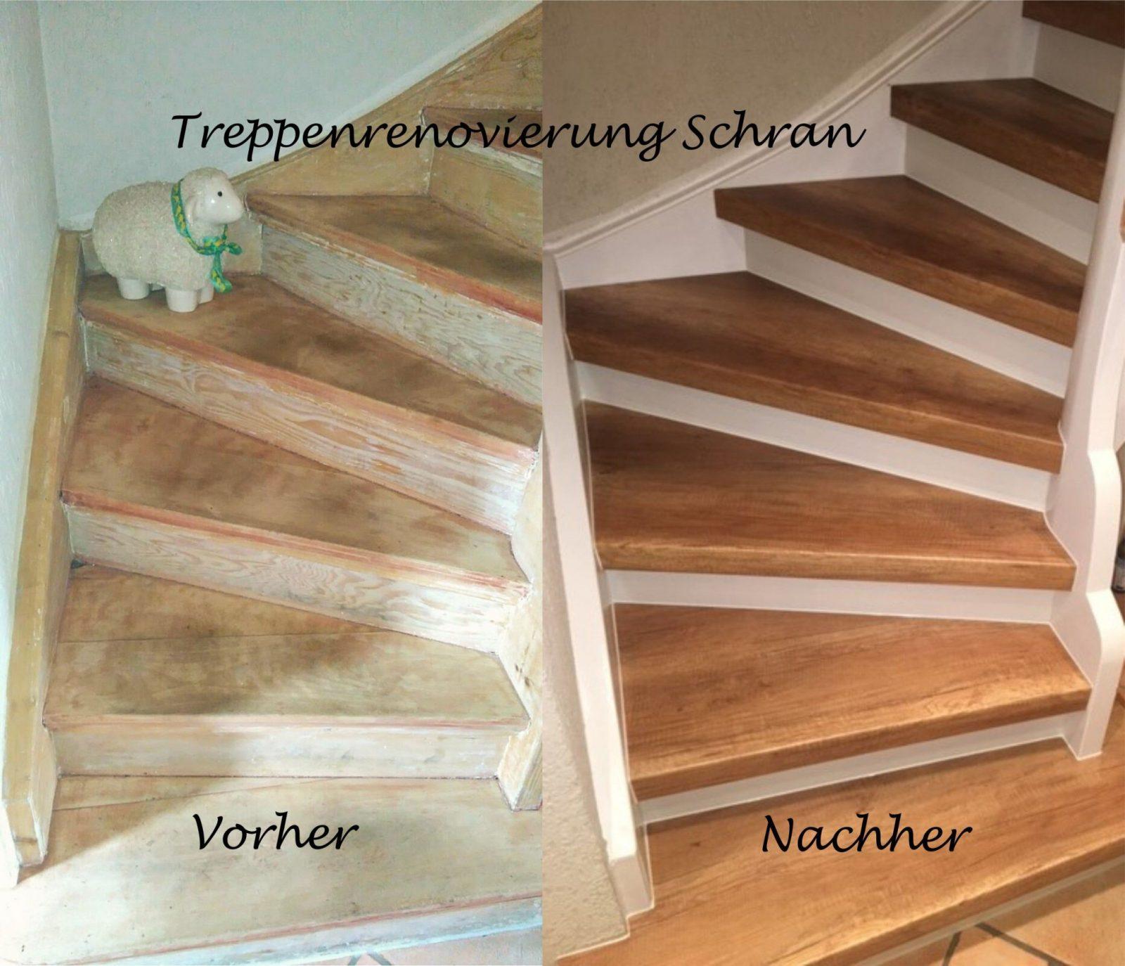 Treppenrenovierung Mit Laminatstufen Stufendekor Eiche Vintage von Treppe Mit Vinyl Bekleben Photo