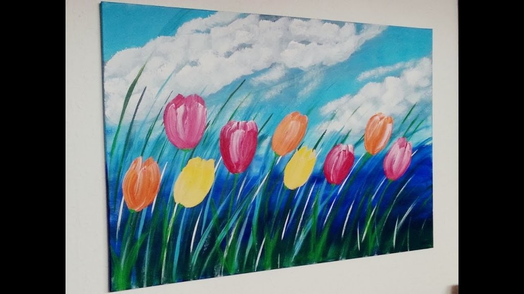 Tulpen Malen Acryl  Tulip Acrylic Painting  Für Anfänger von Acrylbilder Selber Malen Für Anfänger Photo
