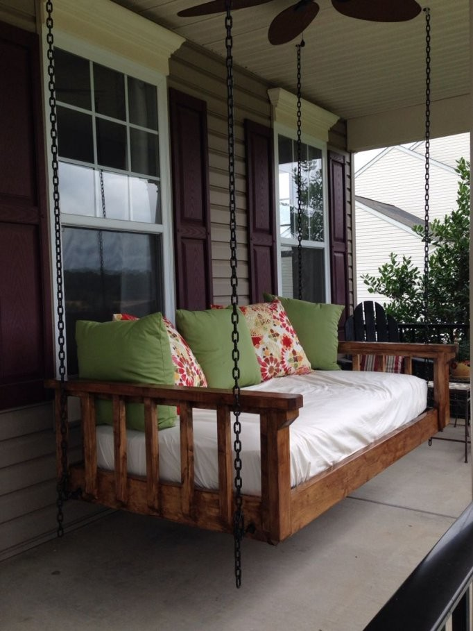 Turned An Old Twin Mattress Into The Best Couch Bed Swing Our von Round Porch Swing Bed Photo