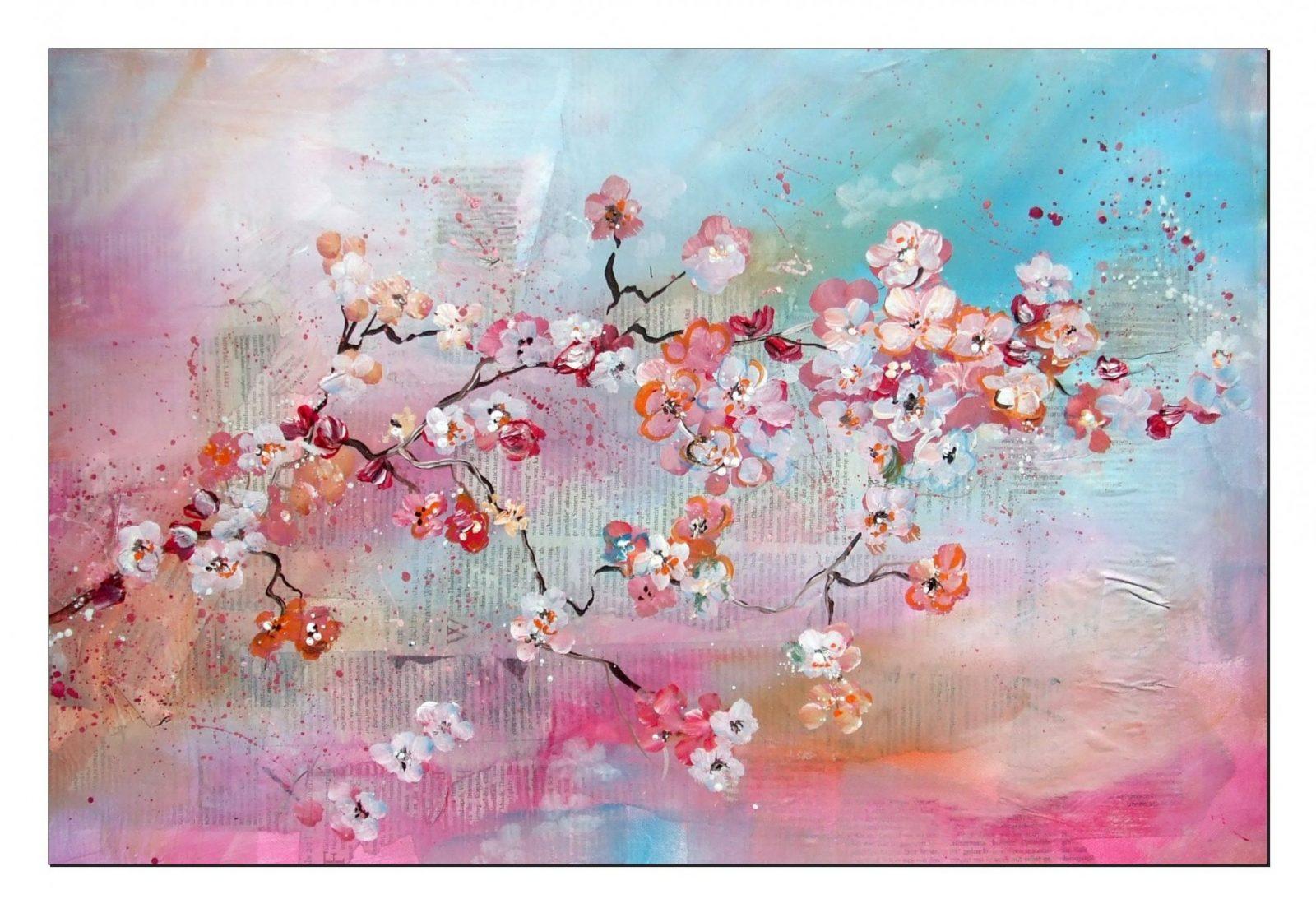 Tutorial Kirschblüten Malen (Anfänger) Cherry Blossoms(Beginners von Acrylbilder Selber Malen Für Anfänger Photo