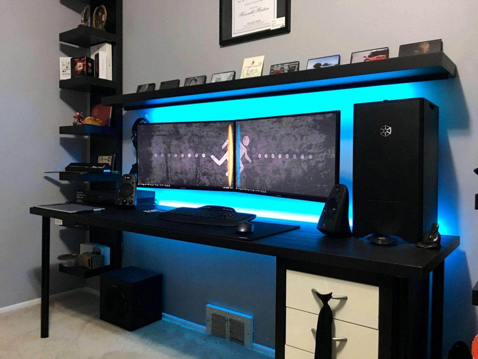 Tv Mobel Mit Kabelmanagement Chic 20 Einziehung Gaming Pc Tisch von Pc Im Tisch Selber Bauen Bild
