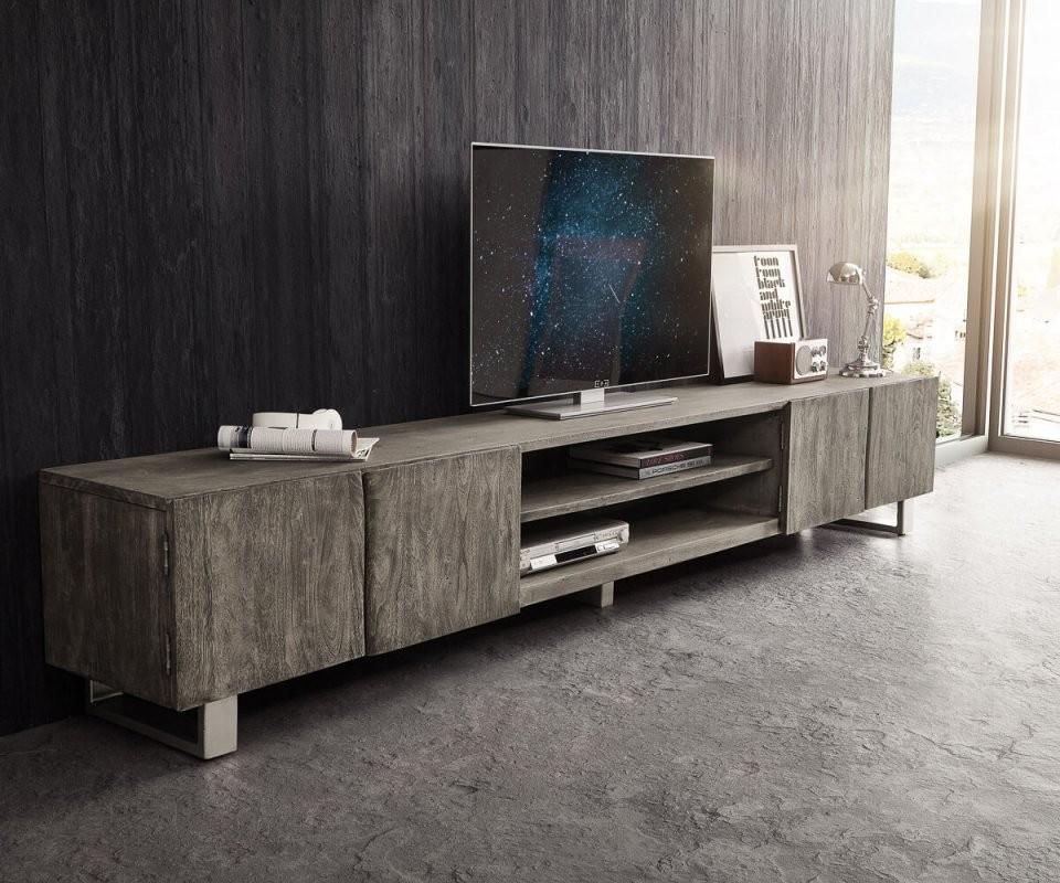 Tvmeubel Liveedge 300 Cm Acacia Platinum 4 Deuren 2 Compartimenten von Tv Lowboard 300 Cm Bild