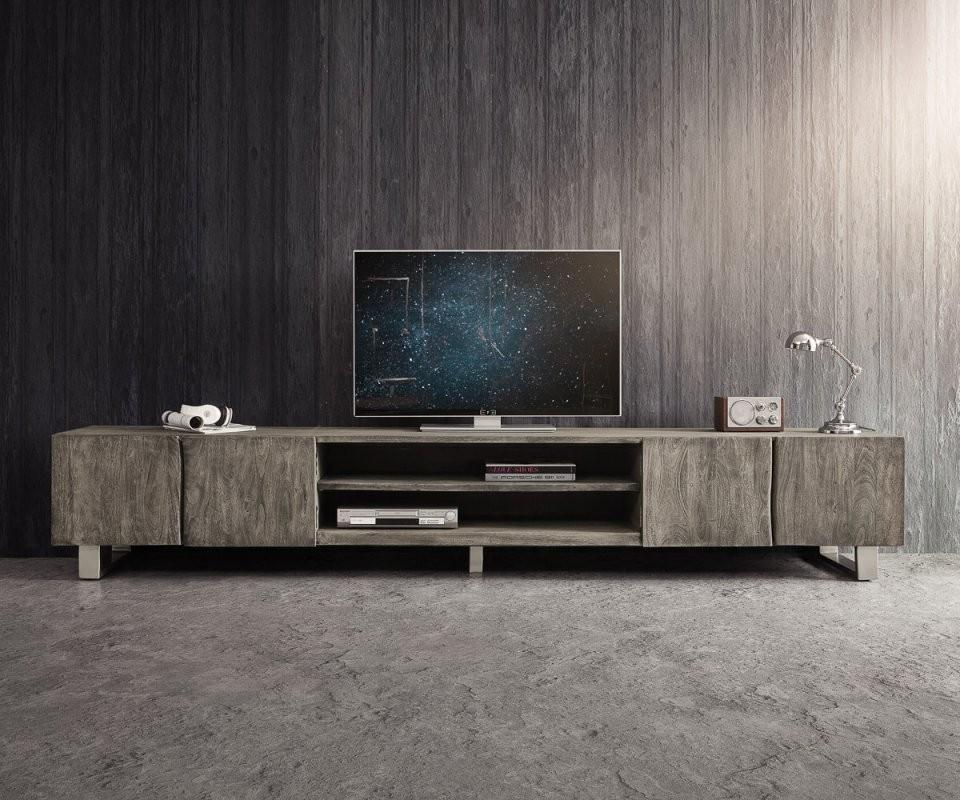 Tvmeubel Liveedge 300 Cm Acacia Platinum 4 Deuren 2 Compartimenten von Tv Lowboard 300 Cm Photo