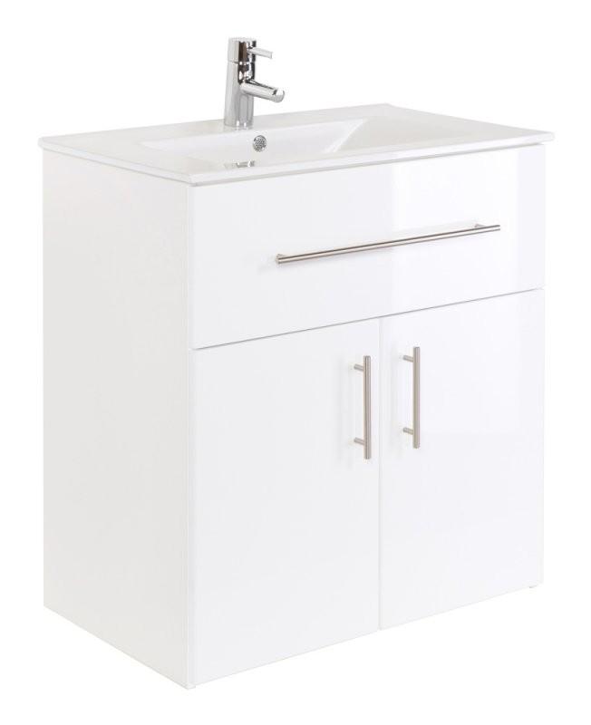 Unterschrank Mit Waschbecken Stehend Weiß Hochglanz 75 Cm von Aufsatzwaschbecken Mit Unterschrank Stehend Photo