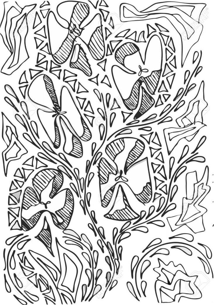 Vector Abstrakte Linie Gemalte Blumen  Schwarzweißfarben von Gemalte Bilder Schwarz Weiß Photo