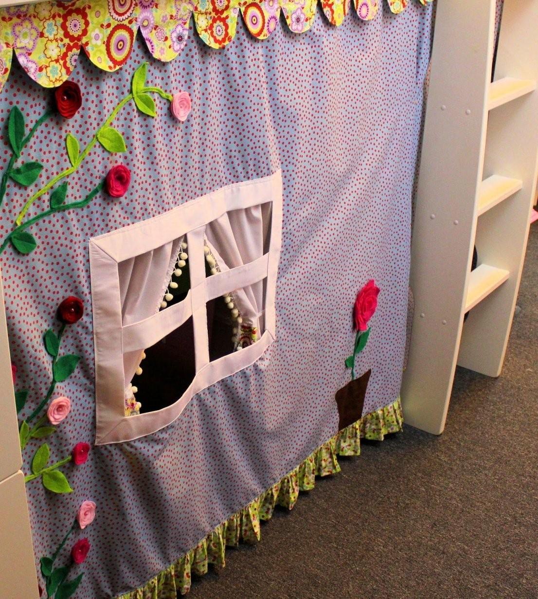 Verkleidung Aus Stoff Fürs Hochbett  Nähen  Kinder Vorhänge von Tunnel Für Kinderbett Selber Machen Bild