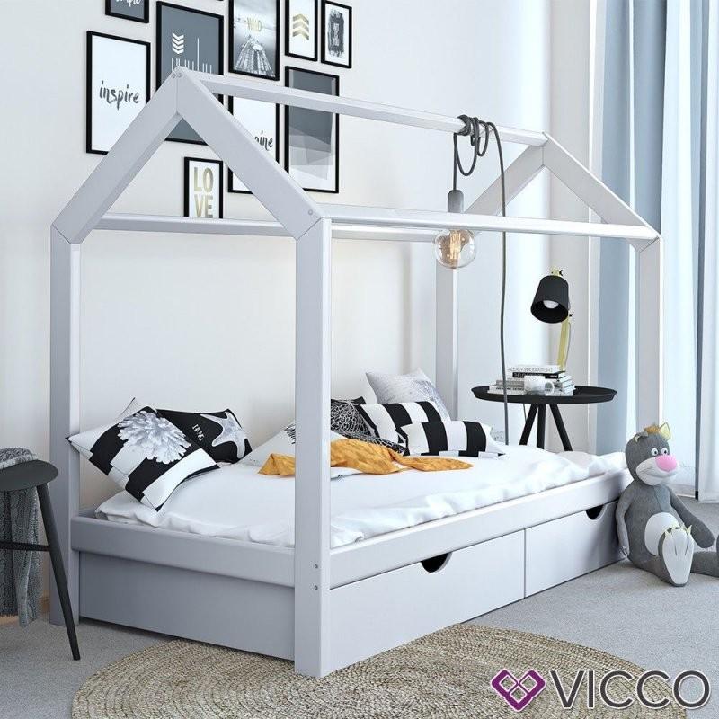 Vicco Kinderbett Hausbett Weiß 90X200 Cm Schubladen Bett Holz von Kinderbett Weiss Mit Schublade Bild